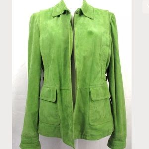 Michael Kors L Large Suede Leather Green Jacket